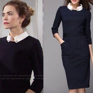 Victoria Victoria beckham Navy nitta collar dress